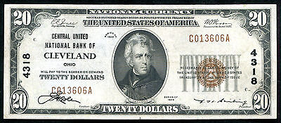1929 $20 Central United Nb Of Cleveland, Oh National Currency Ch. #4318 Au