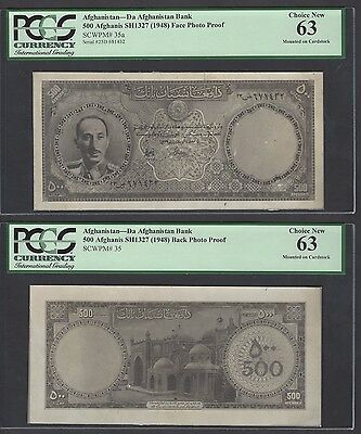 Afghanistan Face & Back 500 Afghanis Sh1327 (1948) Photograph Proof Uncirculated