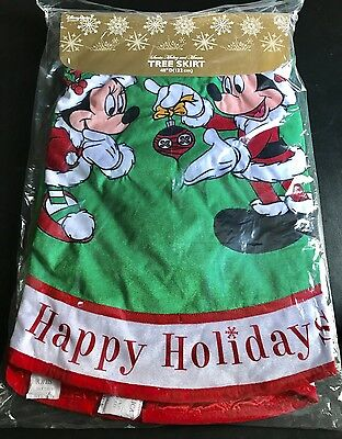 "Disney Santa Mickey And Minnie Storybook Holiday Christmas 48"" D Tree Skirt NEW"