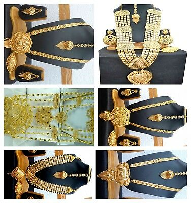 Indian 22K Gold Plated Bridal  Necklace 12'' + Long Earrings Tikka Ring Wedding