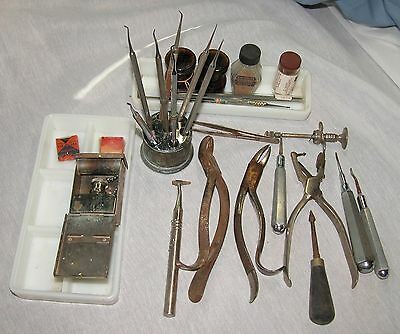 Antique Dental Instruments Tooth Extractor Pick Dentist Tools