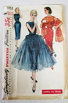 Vintage 1950's Simplicity One Piece Dress and Overskirt Pattern #1452 Size 14