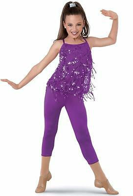 Dance Costume Large Child Purple Sequin Fringe Jazz Solo Competition Pageant