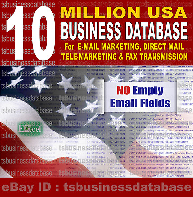 10 Million USA Business DataBase, Commercial Email List  for Email Marketing US