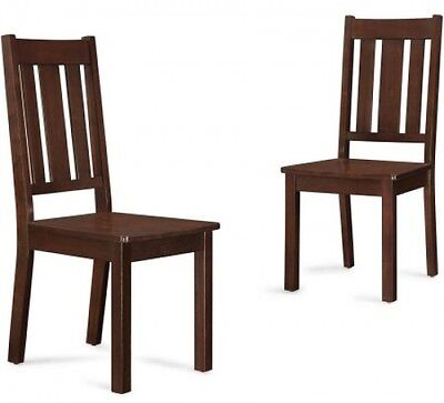 Dining Chairs Set of 2 Mocha Finish Solid Wood Seating Dining Room Furniture NEW