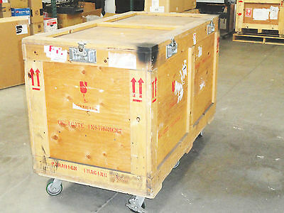 Large Wooden Shipping/Road Case on 6 Heavy Duty Casters, 2 Casters w/ Brakes