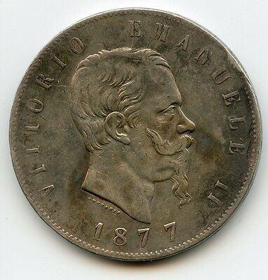 1877 5 Lire Italy .900 Silver Coin AA0452