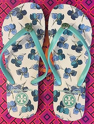 03a25a45c457aa L  K! SALE SIZE 7 NEW Tory Burch Thin Flip Flops Printed Flats Green ...