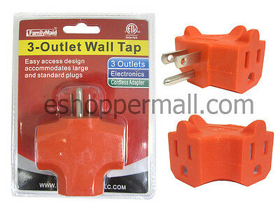 Lot of (2) 3 Way Outlet Wall Triple Tap Adapter Grounded Electrical Splitter
