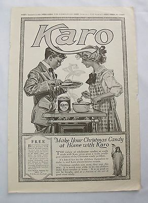 1919 Karo Syrup print Ad children making candy original oversize advertising