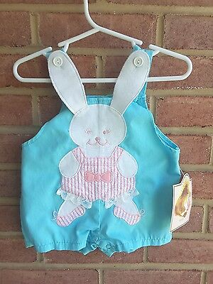 Vintage Sears Ballerina Rabbit Bunny Romper Overalls Size 12 mos with Tags
