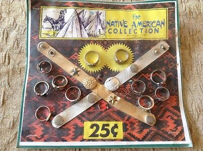 """1992 Folz Vending Display """"the Native American Collection"""" Bracelets Metal Rings"""