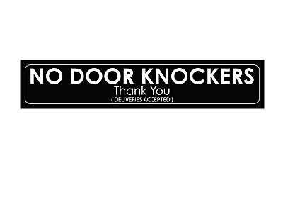 No Door Knockers - Sticker (200x50mm) Gloss