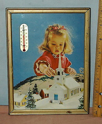 Cute 50s/ 60s Toddler Girl with Putz  House Church & Homes Photo w/ Thermometer