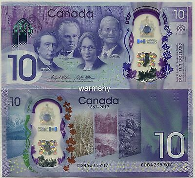 Canada 2017 150th Anniversary Commemorative Polymer Banknotes 10 Dollars UNC