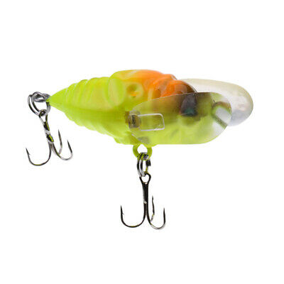5cm Winged Cicada Surface Lure Walker Bug Bass Trout Topwater Fishing Lures