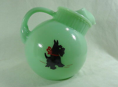 Ball Juice Pitcher Jadite Scottish Terrier Dog Jadeite Jade Glass 40 ounce