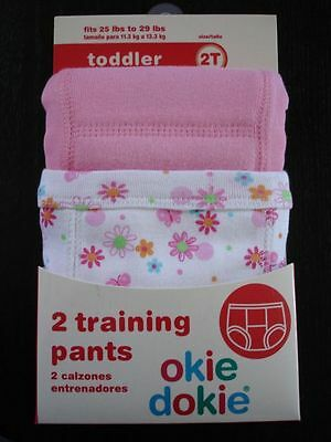 Okie Dokie Training Pants Underwear Girls Size 2T Pink Butterfly Pack of 2 New