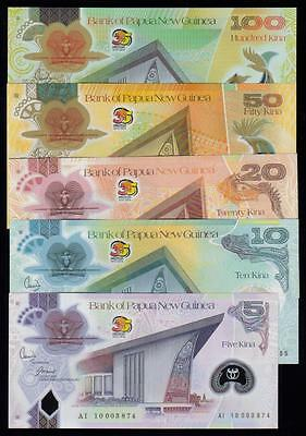(PA-317) Papua New Guinea Pick 39-43 set of 5. Kina 5, 10, 20, 50, 100 all UNC