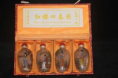 "4pc Chinese folk Inside painted ""Beauties Fig"" glass snuff bottle"