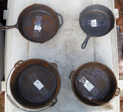 Lot of 4 Vintage Cast Iron Frying Pans or Dutch Ovens