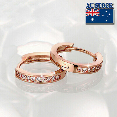 Elegant 18K Rose Gold Filled GF GP Huggie Hoop Earrings With SWAROVSKI Crystal