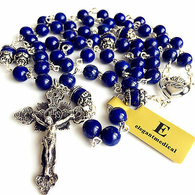 S925 Sterling Silver Rosary UNDOUBTED Lapis lazuli Bead CROSS CATHOLIC NECKLACE
