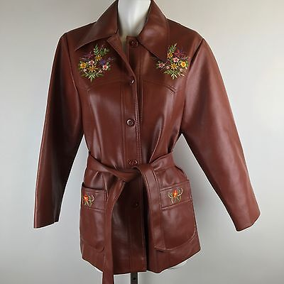 Vtg 70s Embroidered Faux Leather Jacket Western Style Brown Floral Belted Boho