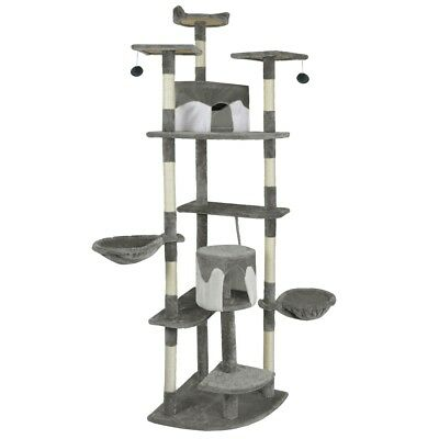 vidaXL Cat Tree Scratching Post 213 cm Grey and White Activity Climbing Toy