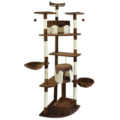 vidaXL Cat Tree Scratching Post 213 cm Brown and White Activity Climbing Toy