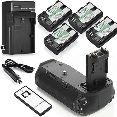 BG-E14 Battery Grip + 4x LPE6 Batteries + Charger + Remote for Canon EOS 70D 80D