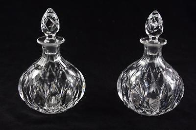 Pair Of Vintage Kosta Boda Crystal Indented Glass Decanters Perfume Bottle