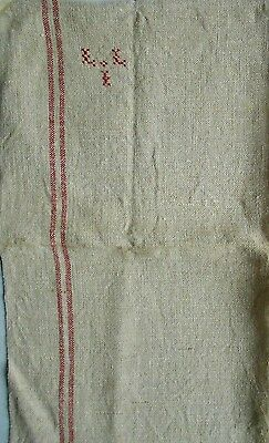Antique french Hessian + Linen RED Stripes TOWEL monograms L L