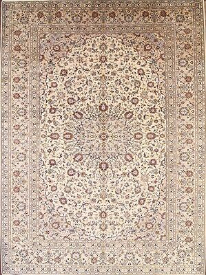 Signed Floral Hand Knotted Antique Ivory 10x13 Kashan Persian Oriental Area Rug