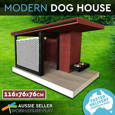 NEW Modern Wooden Dog House Kennel Pine Wood Metal Mesh for Air Flow 116X76X76CM
