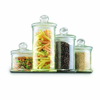 Anchor Hocking Glass Apothecary Jar Canister Set with Ball Lid 4-Piece Set