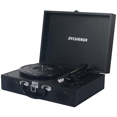 Sylvania STT102USB Portable USB Encoding Turntable Record Player in Suitcase