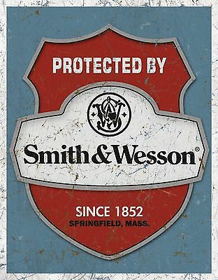"Smith & Wesson - Protected By Tin Sign 12.5"" X 16""  12x16"