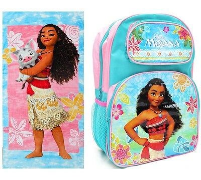New - Disney Moana Kids Towel Backpack School Bag Pink Girls Xmas Toys Children