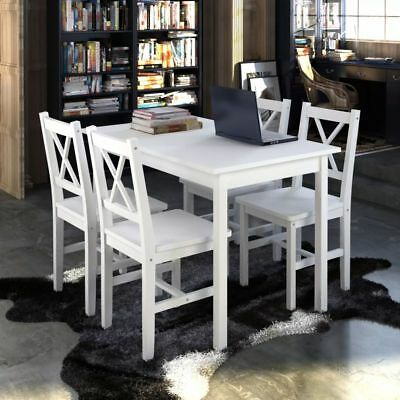 New 1 Wooden Table with 4 Wooden Chairs Home Dining Room Furniture Set White