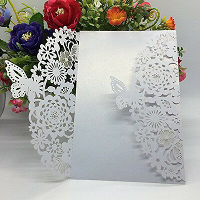 10pcs for Wedding Bridal Shower Invitation Cards Kits Butterfly Vertical White