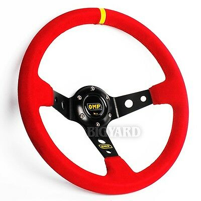 350mm Deep Dished Red Suede Leather Sport Steering Wheel with OMP Horn Button