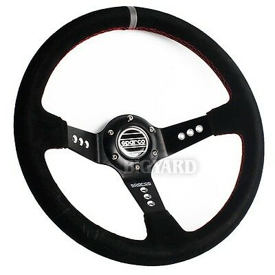 350mm SPARCO Deep Dished Genuine Suede Leather Steering Wheel with Horn Button