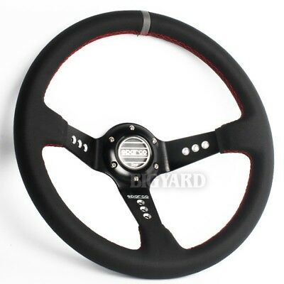 350mm Deep Dished Genuine Leather Sport Steering Wheel with SPARCO Horn Button