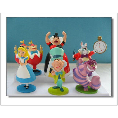 6PCS MINI ALICE IN WONDERLAND PVC Cake Toppers Figure Decor Decoration Toy