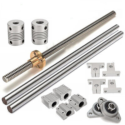 15pcs 8mm 500mm CNC Lead Screw Rod Linear Rail Bearing Shaft Slide Block Support