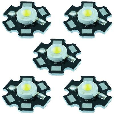 5 x White 3W High Power Star PCB LED 260lm