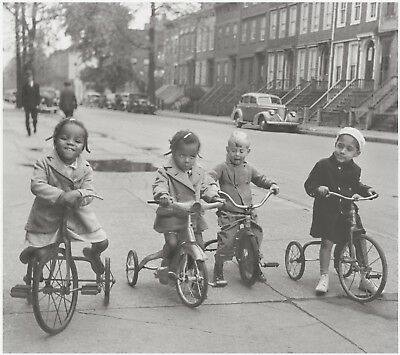 """Vintage Lithograph-Interracial Children, NY, 40s """"Tricycle Gang"""" by Joe Schwartz"""