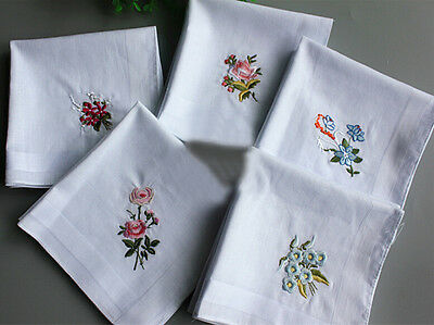 Vintage Embroidery Flower White Cotton Ladies Hanky Handkerchief