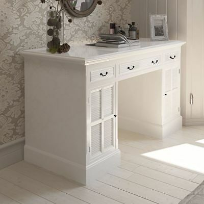 New White Double Pedestal Desk with Cabinets and Drawers MDF Pine High-quality